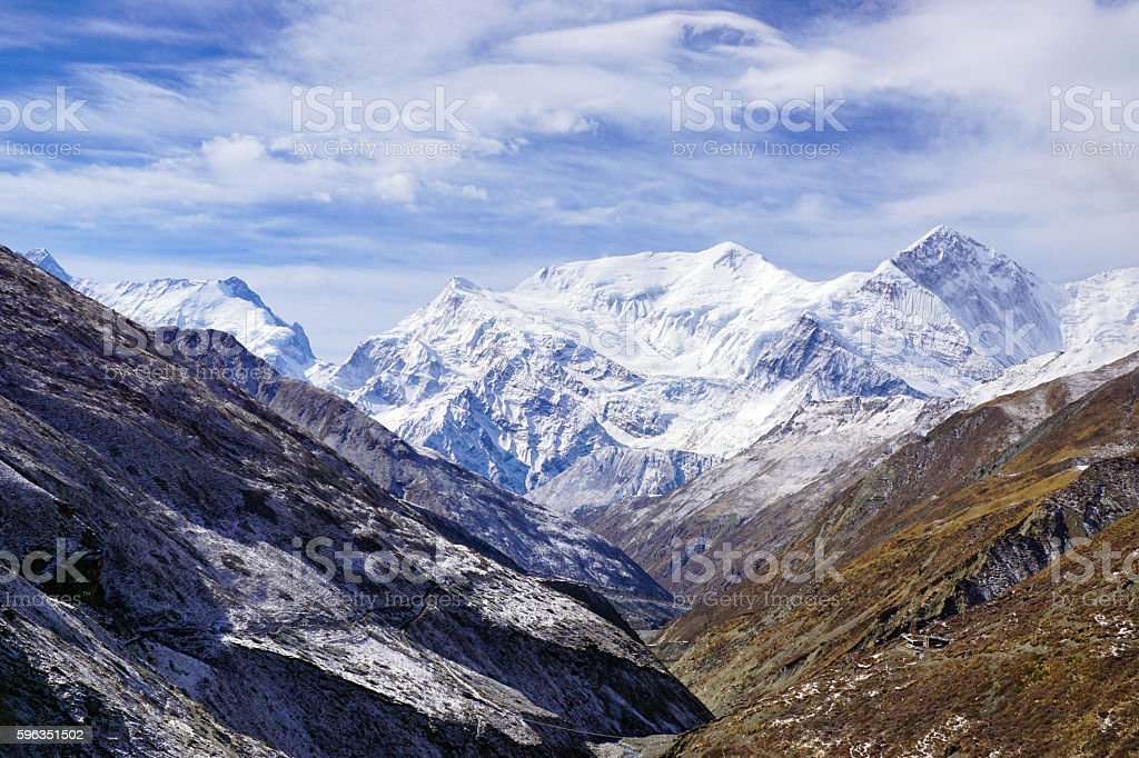 Mountain view Annapurna Himal in valley of Khola river royalty-free stock photo