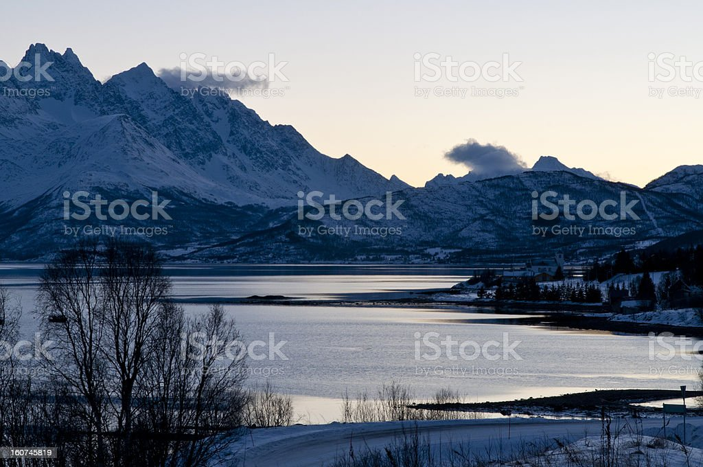 Mountain view at Sjursnes royalty-free stock photo