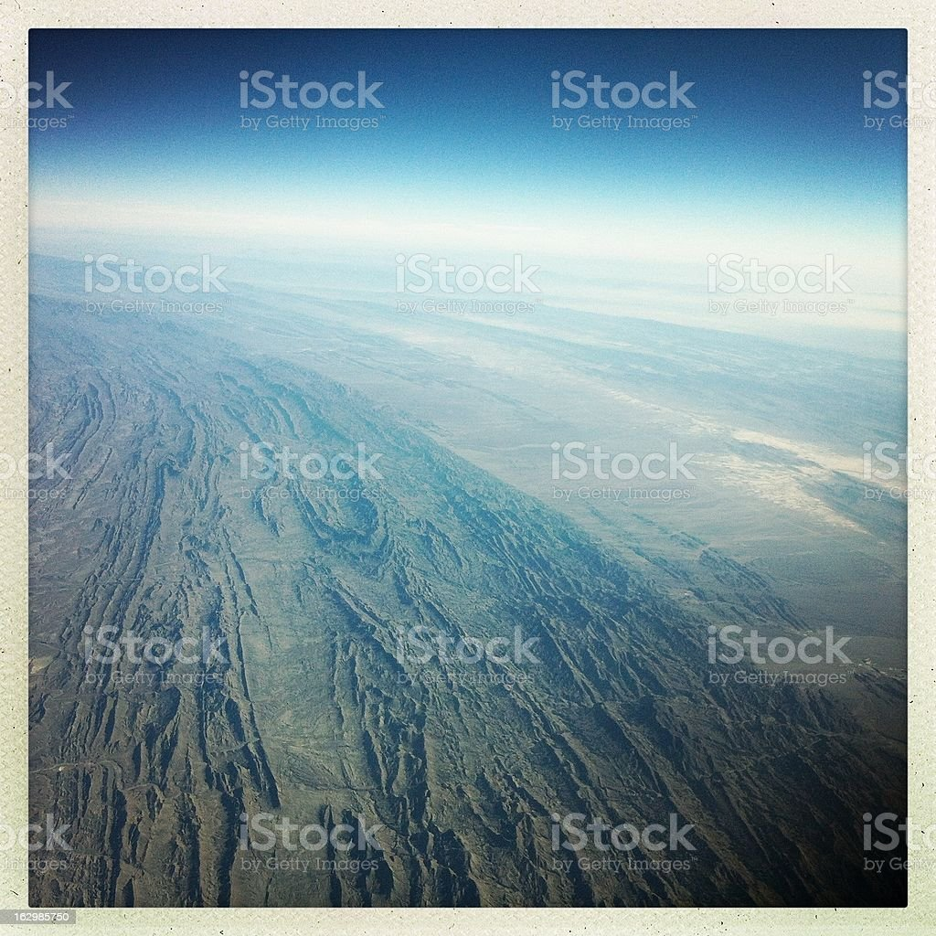 mountain view from airplane royalty-free stock photo