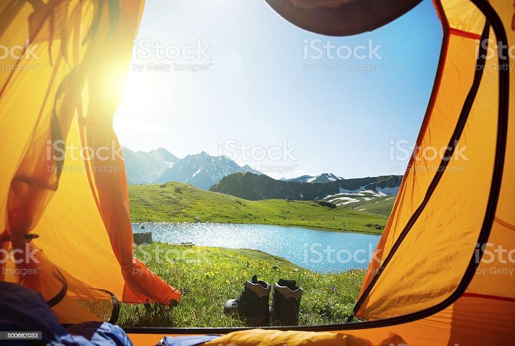Mountain view from orange tent stock photo