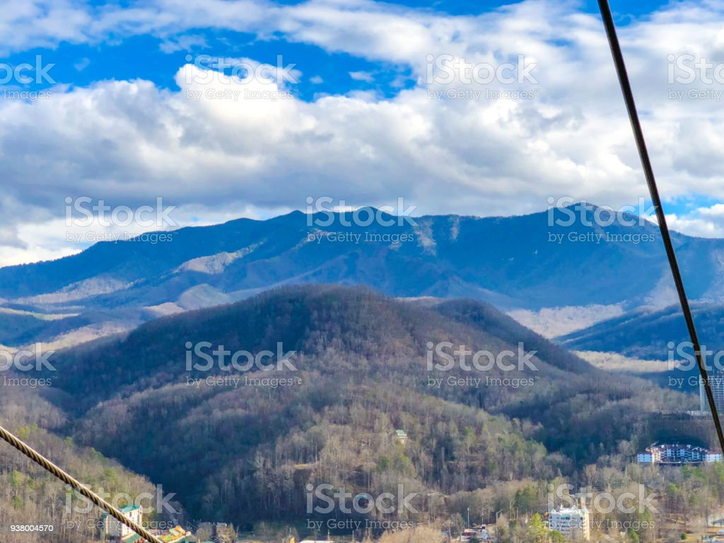 Mountain view from rope car of Tennesse stock photo