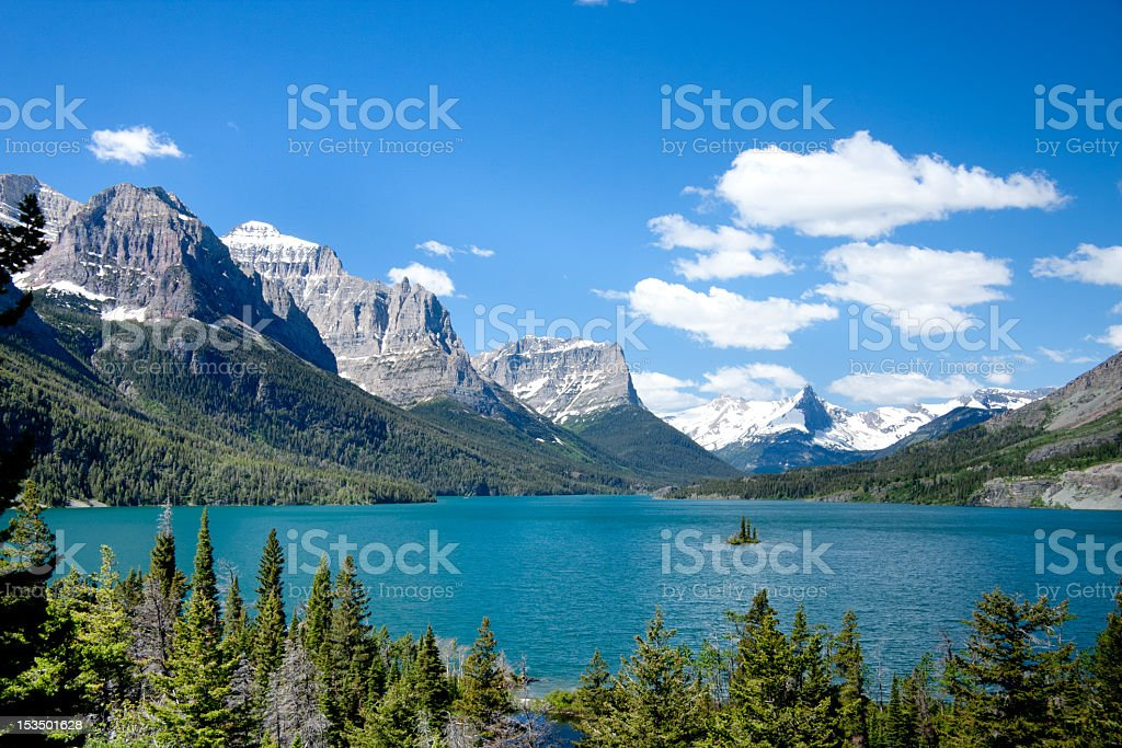 A mountain view in Glacier National Park, Montana stock photo