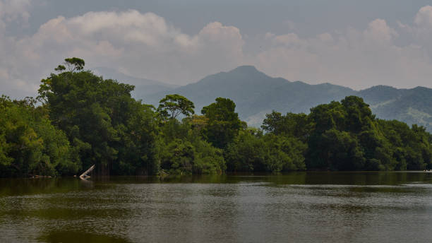 Mountain view in La Ceiba bay stock photo