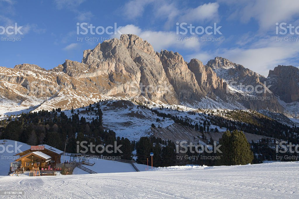 Mountain view in Santa Cristina, Val Gardena, Italy stock photo