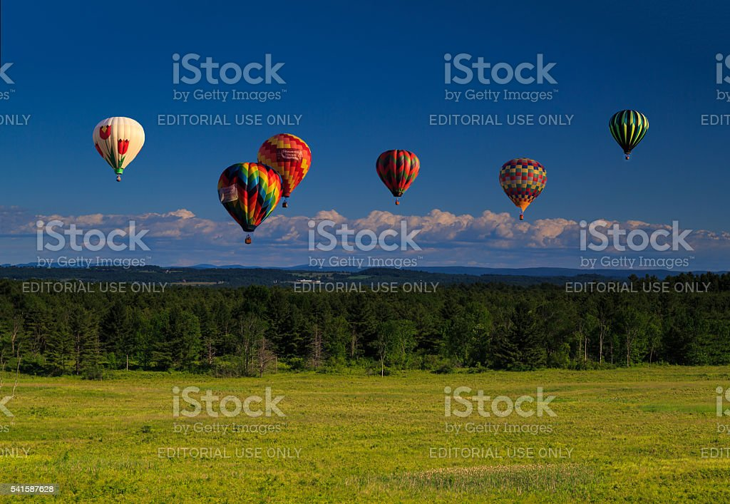 Mountain view in Saratoga County NY with hot air balloons stock photo