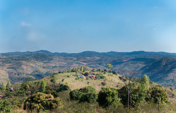 Mountain view of African village stock photo