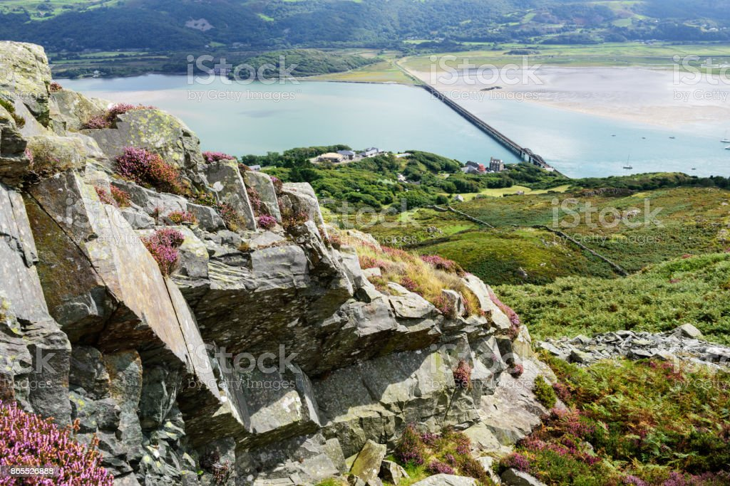Mountain view of Barmouth Bridge  River Mawddach, Wales stock photo