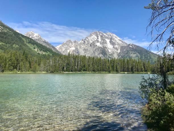 Mountain View on Glacial Lake in Grand Teton National Park stock photo