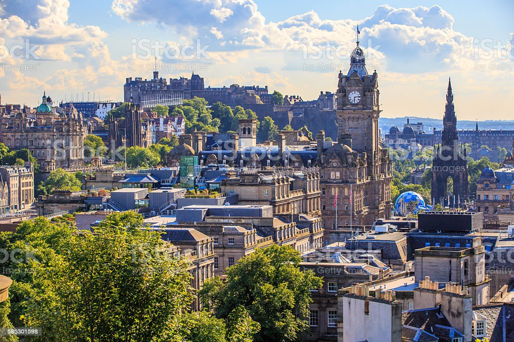 Mountain view point over Edinburgh city. stock photo