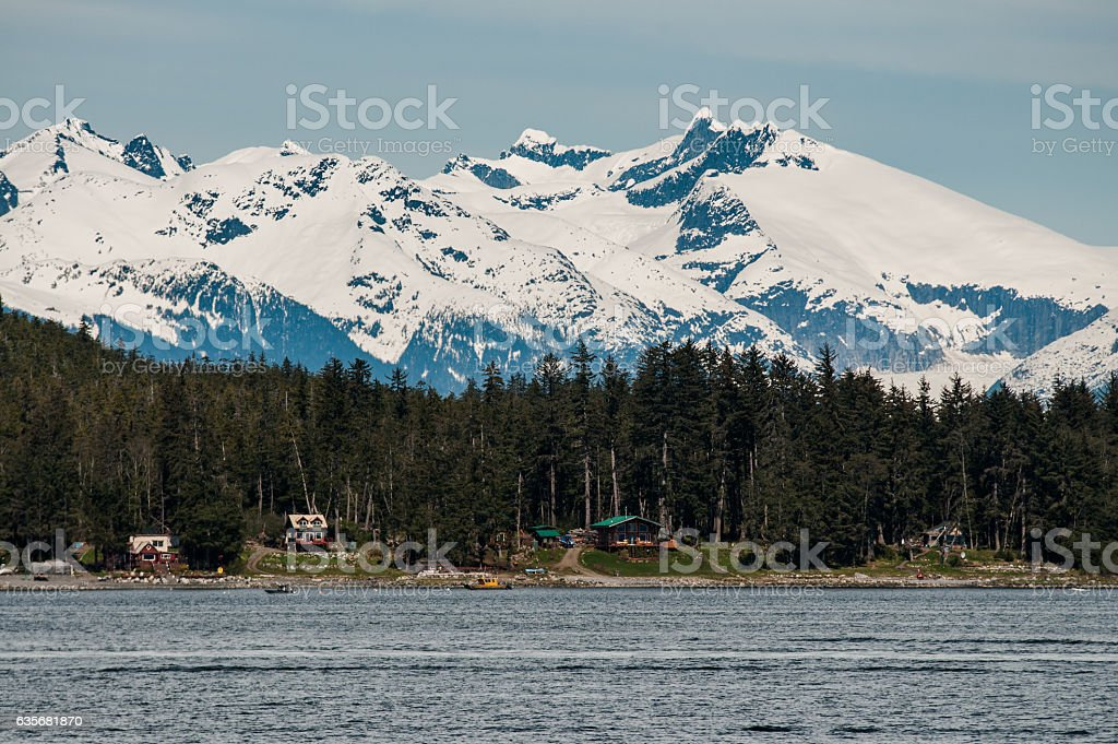Mountain View with Cabins stock photo