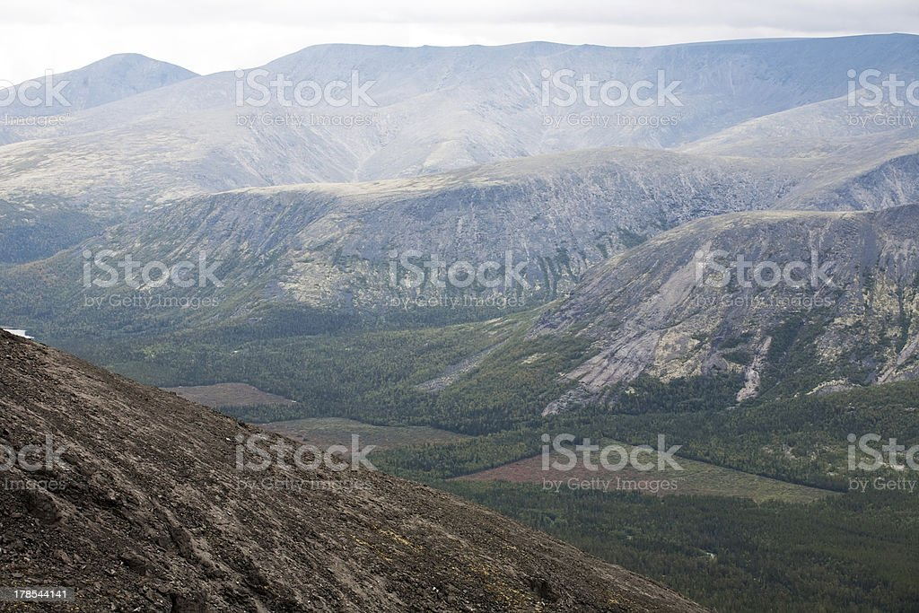 mountain view with deforestation glades royalty-free stock photo