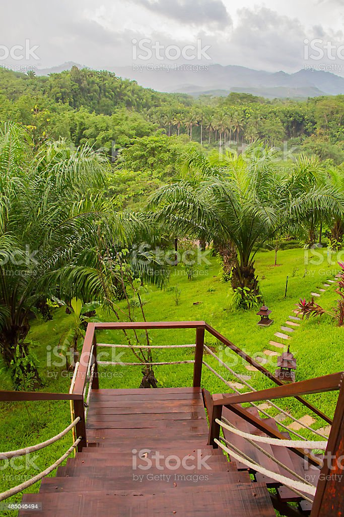 Mountain View With Fog In Rainy Seasonform Camp Balcony Stock Photo