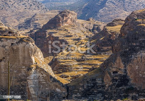 Mountain views around Hasankeyf town and the Tigris River, Turkey, Batman Province. Eastern turkish landscape
