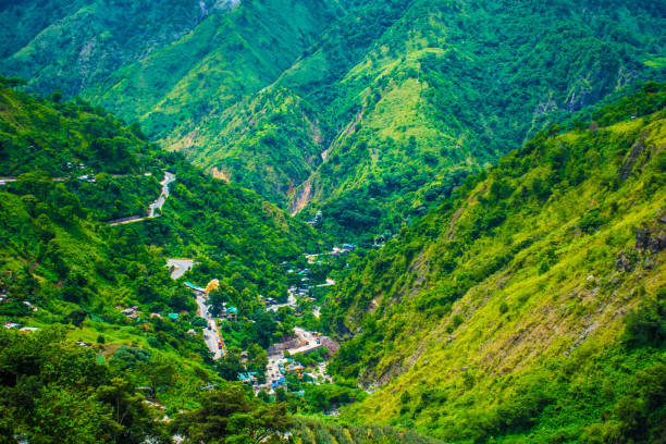 mountain views over baguio city philippines - baguio city stock photos and pictures