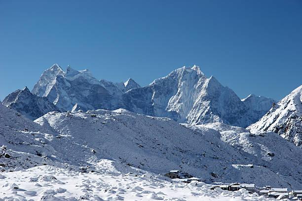 산 타운명을 불빛들과 얼음으로 둘러싸인 후, 북쪽으로 히말라야 산맥, 네팔 스톡 사진