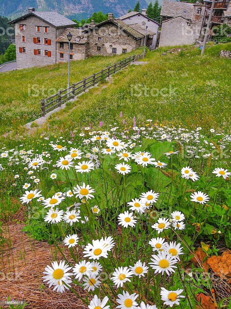 Mountain Village, Aosta Valley stock photo