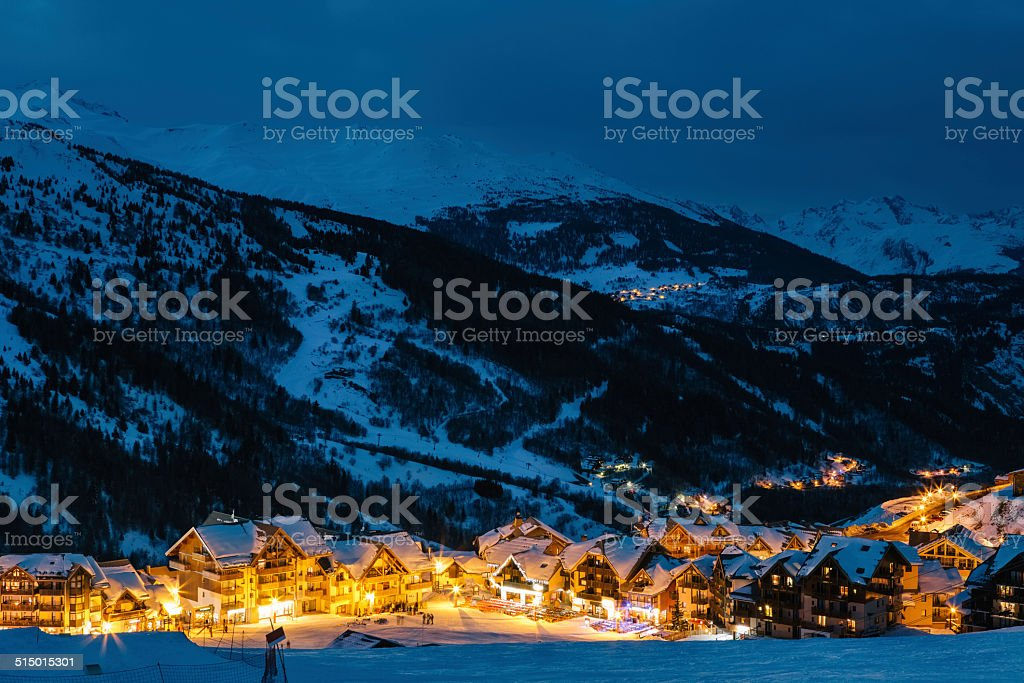 Mountain Village At Dusk stock photo