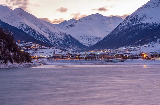 Mountain Village At Dusk .