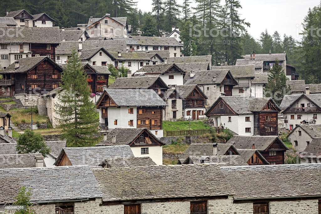 Mountain village Bosco Gurin stock photo