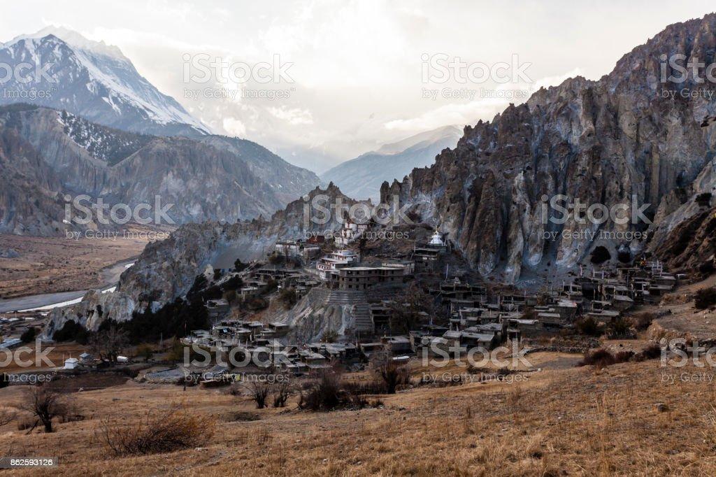 Mountain village - Braga (Braka) in Nepal, Himalayas stock photo