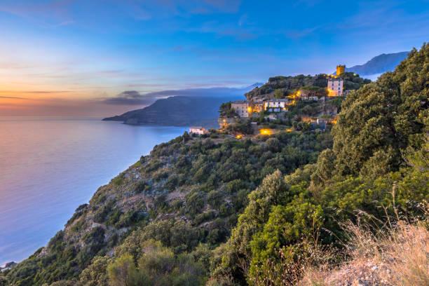 Mountain Village Corsica stock photo