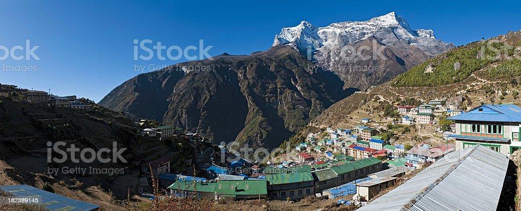 Mountain village high altitude Himalayan Sherpa town panorama Namche Nepal royalty-free stock photo