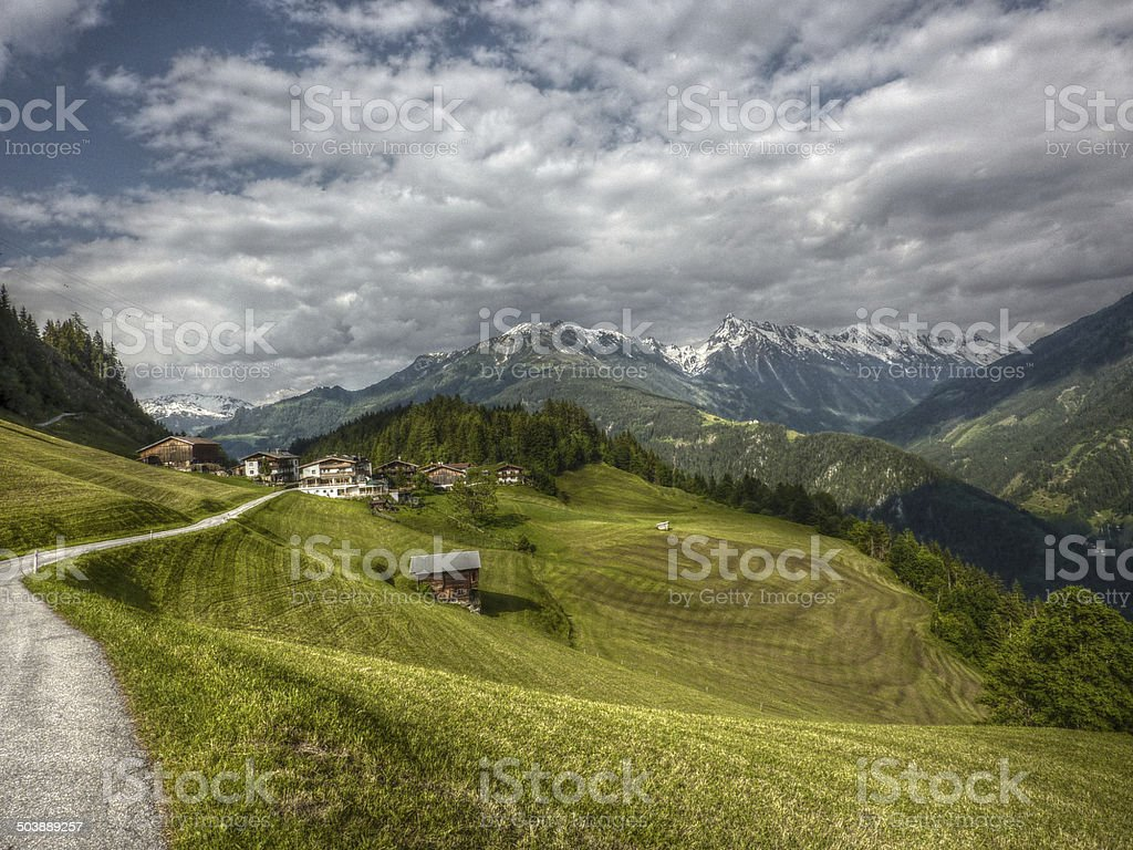 mountain village in HDR stock photo