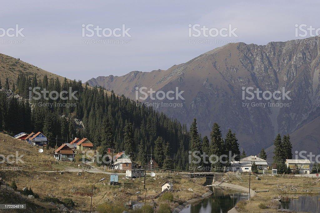 Mountain village in Kazakhstan stock photo