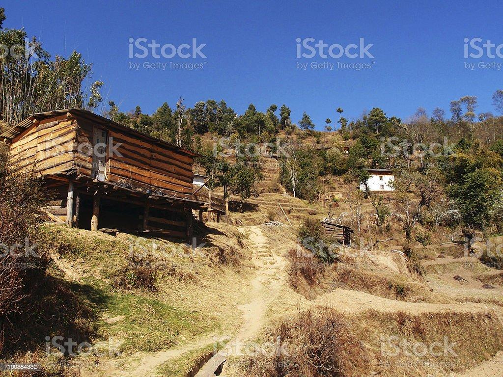 Mountain village in Nepal stock photo