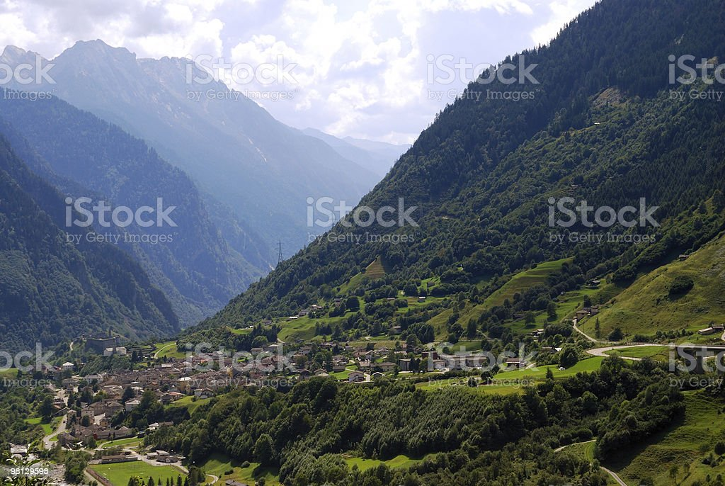 Mountain village in swiss Alps royalty-free stock photo
