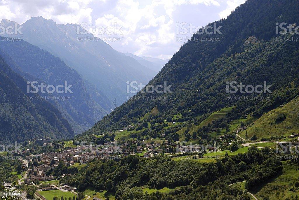 Mountain village in swiss Alps stock photo
