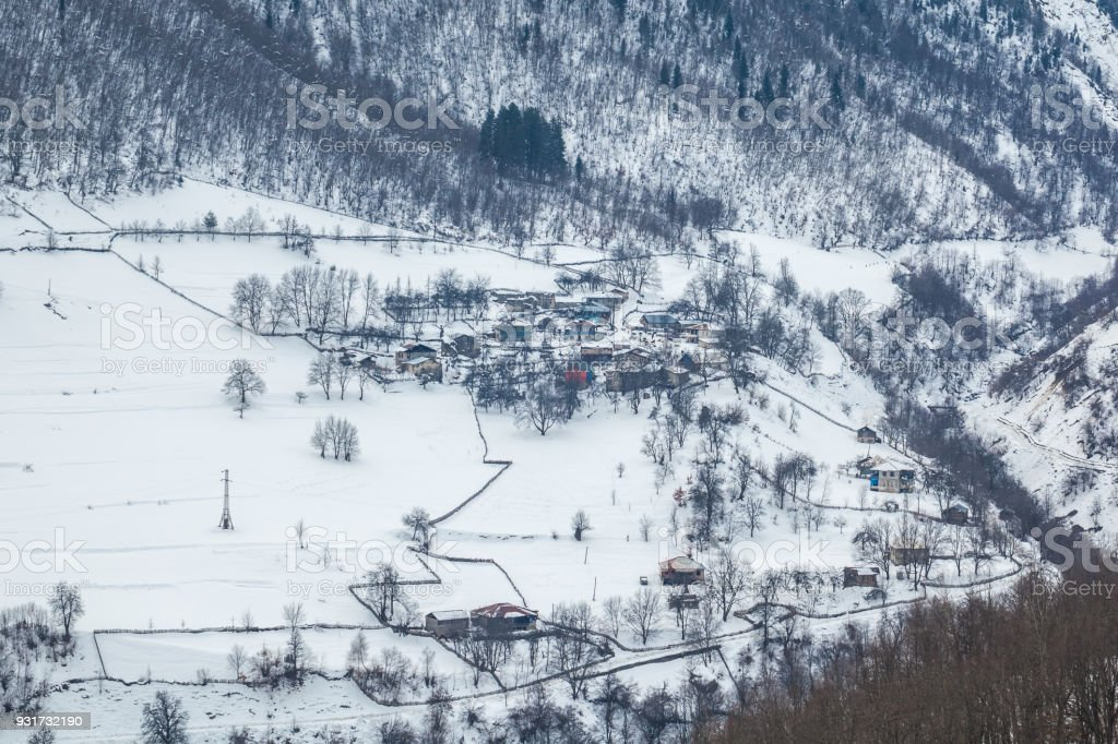 Mountain village in the Caucasus Mountains in winter, Svaneti, Georgia stock photo