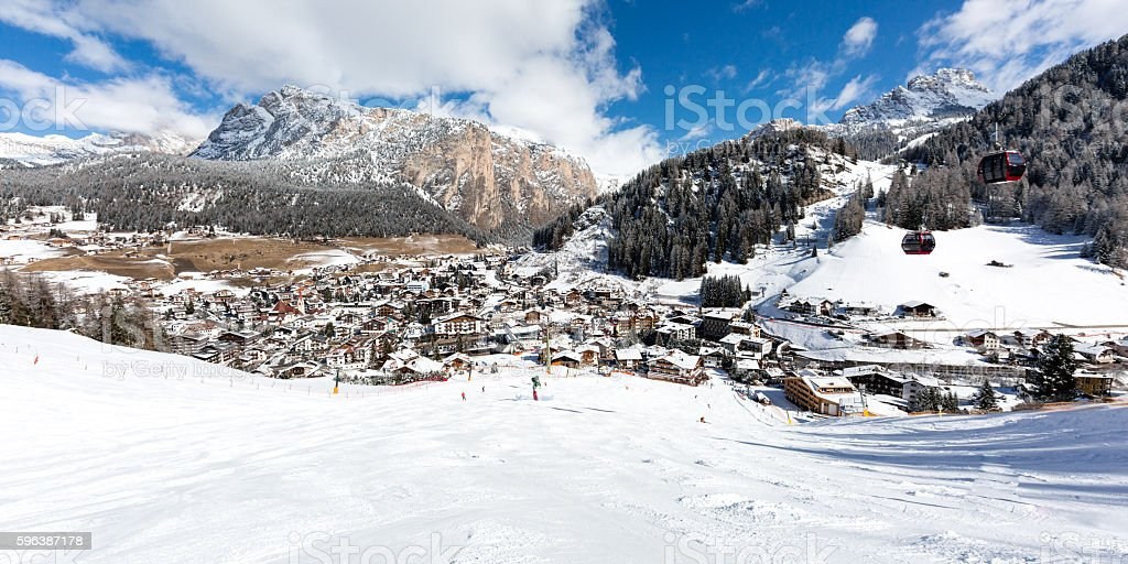 Mountain village in the Dolomites stock photo