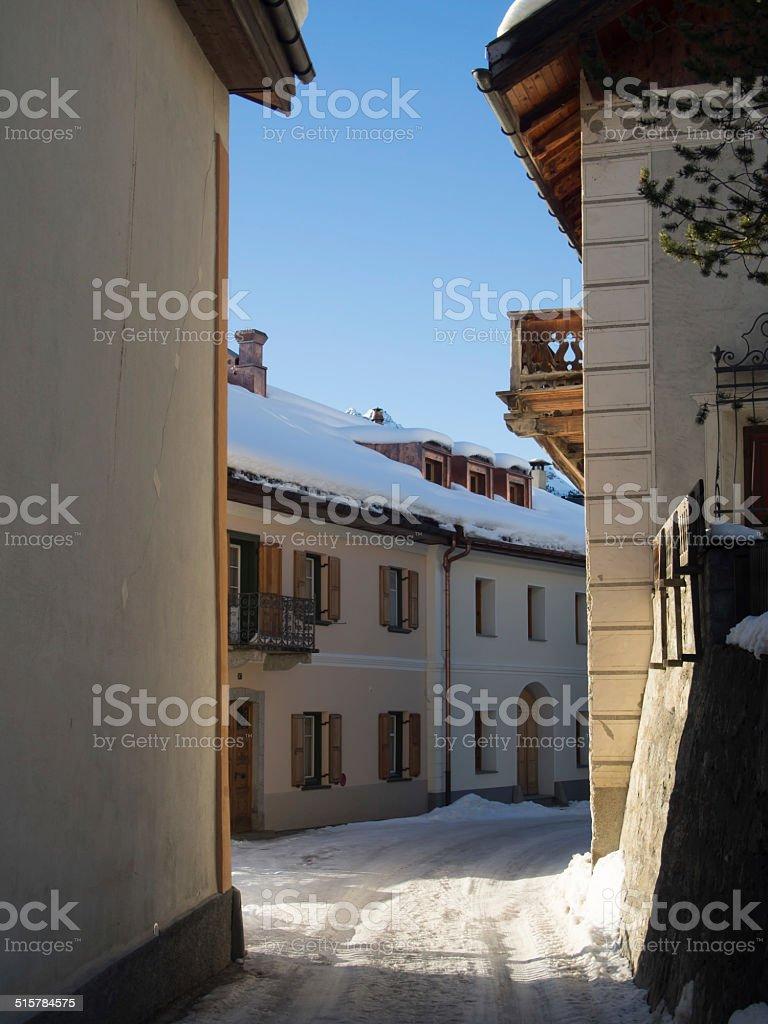 Mountain village in the Engadine, Switzerland stock photo