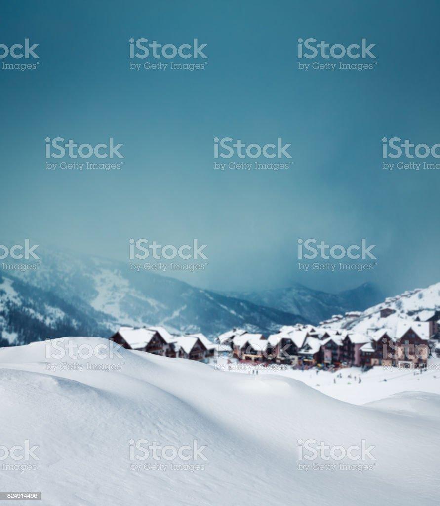 Mountain Village In Winter stock photo