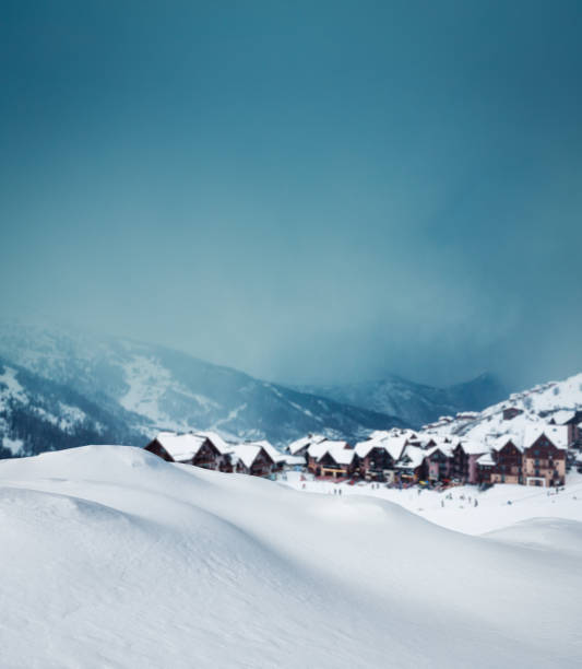 mountain village in winter - snow pile stock photos and pictures