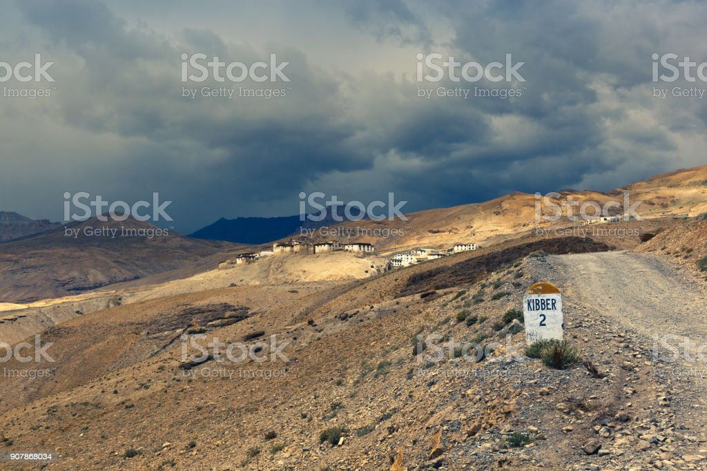 Mountain village Kibber stock photo