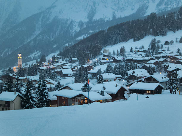 Mountain village of Antagnod after a big snowfall, sunset time stock photo