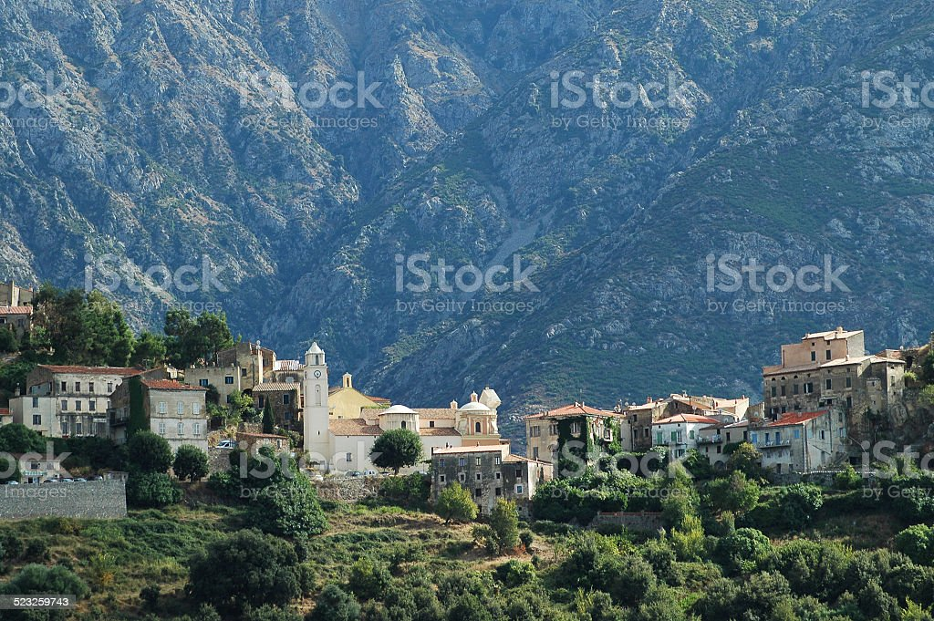 Mountain village of Belgodere in Balagne, Corsica stock photo