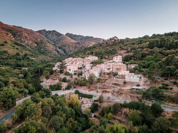 Mountain village of Ville di Paraso in Corsica The ancient mountain village of Ville di Paraso in the Balagne region of Corsica ville stock pictures, royalty-free photos & images
