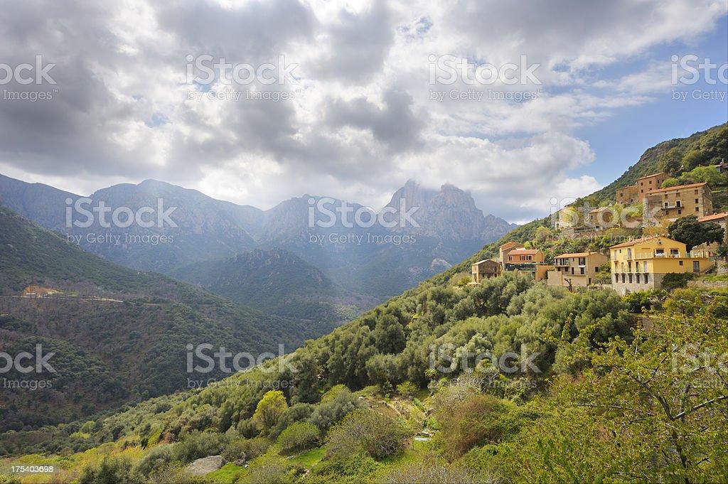 Mountain Village on the Island of Corsica stock photo