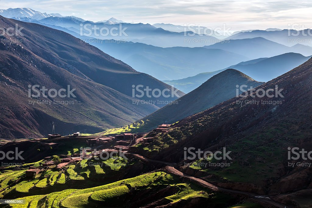Mountain village, road over the pass from Demnate , Morocco, Africa stock photo