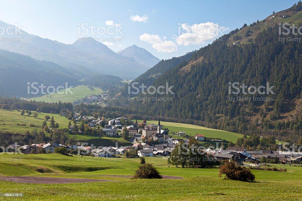Mountain Village, Sta Maria, Val Müstair, Graubünden, Switzerland stock photo