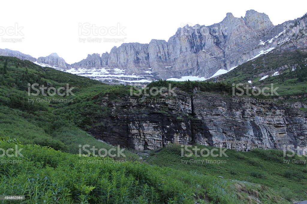 Mountain Wall - Glacier NP stock photo