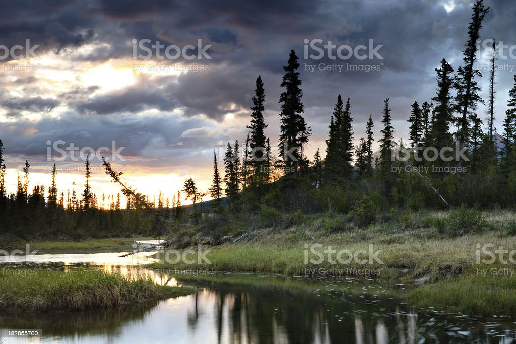 Mountain Water Hole at Sunset royalty-free stock photo