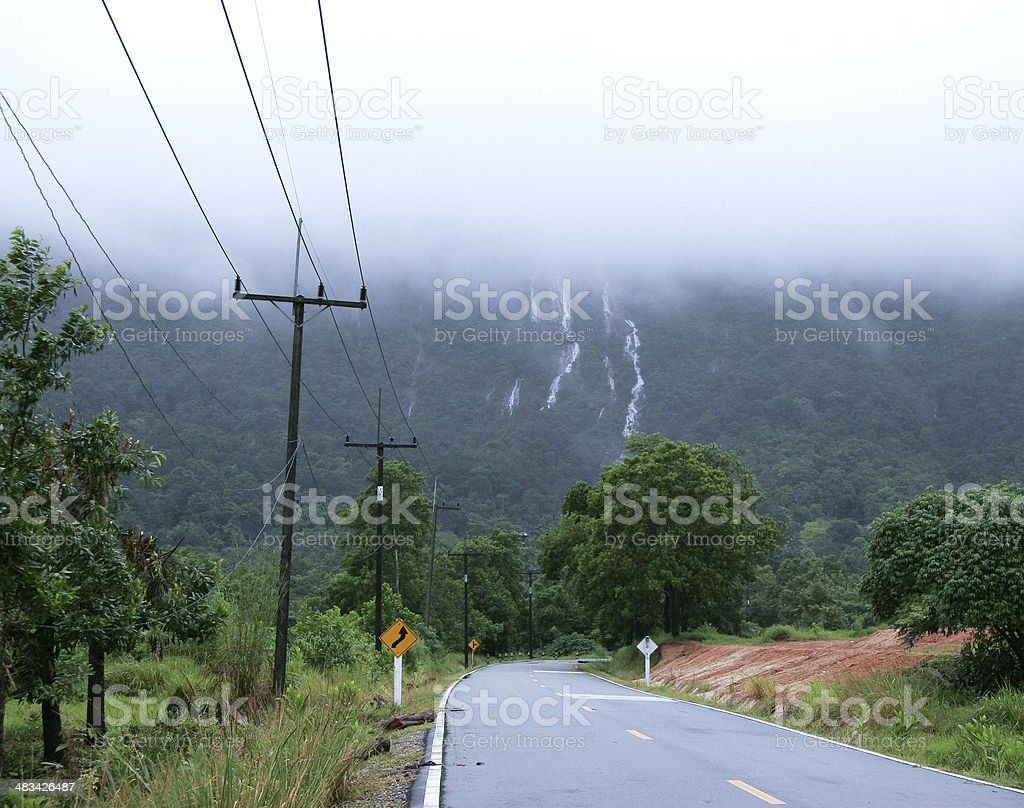 Mountain Waterfall and Foggy royalty-free stock photo