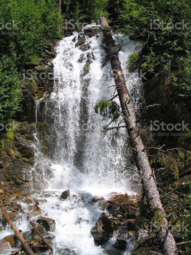 Mountain Waterfall A digital image of a mountain waterfall alongside highway 99 (the Sea to Sky Highway) East of Whistler B.C. British Columbia Stock Photo