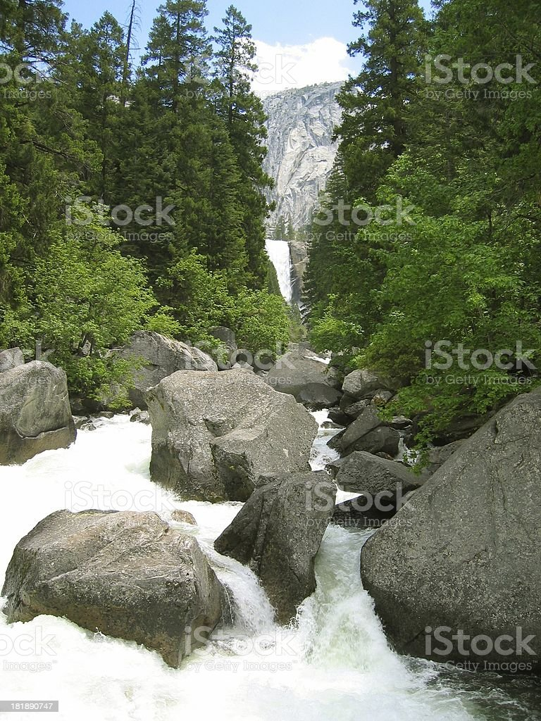 Mountain waterfall stock photo