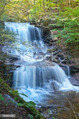 istock Mountain Waterfall Time Exposure - Canoga Falls, Ricketts Glen, Pennsylvania 184854352