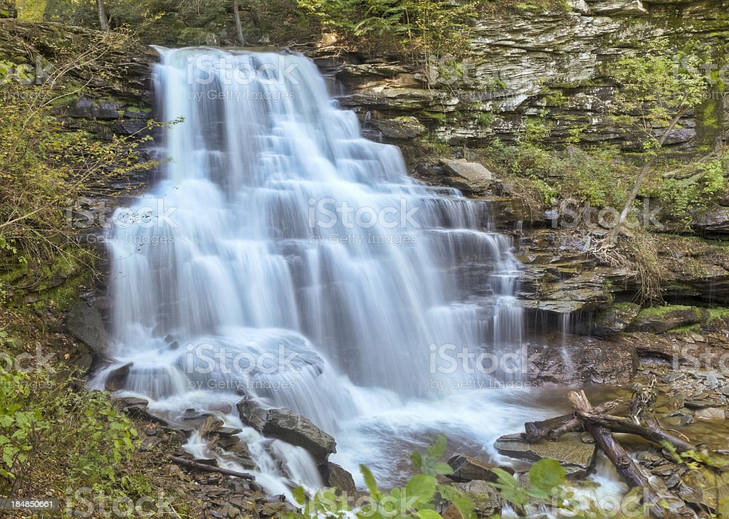 Mountain Waterfall Time Exposure - Erie Falls, Ricketts Glen, Pennsylania stock photo